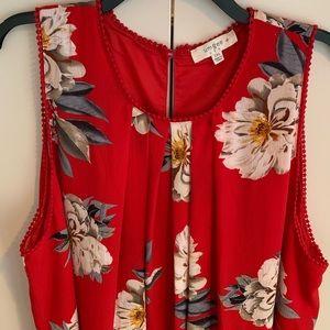 Umgee Red Floral Sleeveless Dress